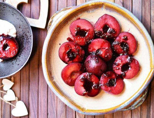 Baked, Mulled Plums